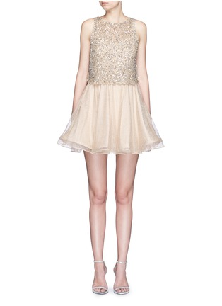 Main View - Click To Enlarge - alice + olivia - 'Hilta' sequin embellished combo flare dress
