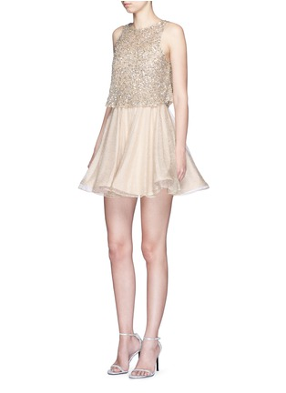 Figure View - Click To Enlarge - alice + olivia - 'Hilta' sequin embellished combo flare dress