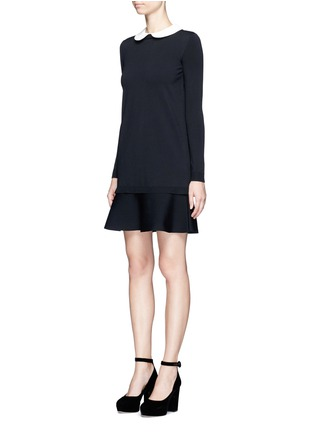 Front View - Click To Enlarge - VALENTINO - Removable Peter Pan collar sweater dress
