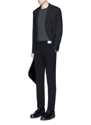 Figure View - Click To Enlarge - Alexander McQueen - Metallic stripe waistband crepe pants
