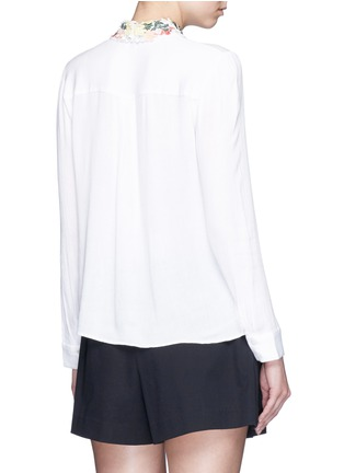 Back View - Click To Enlarge - alice + olivia - 'Saira' floral embroidered collar crépon shirt