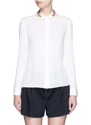 Main View - Click To Enlarge - alice + olivia - 'Saira' floral embroidered collar crépon shirt