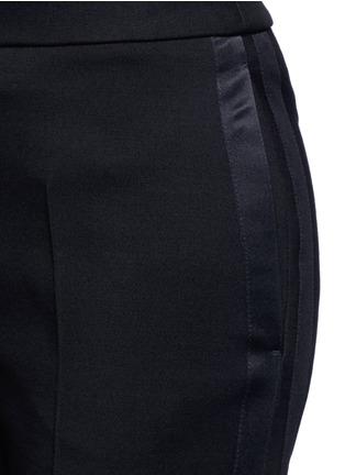 Detail View - Click To Enlarge - Alexander McQueen - Satin stripe wool-silk flared pants