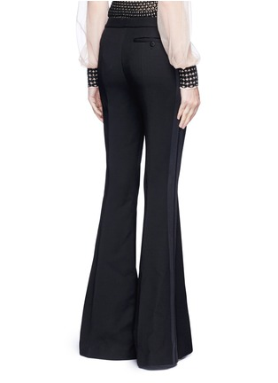 Back View - Click To Enlarge - Alexander McQueen - Satin stripe wool-silk flared pants