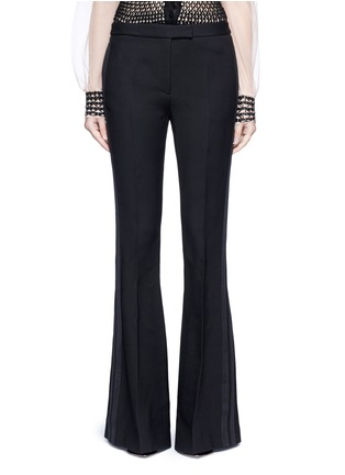 Main View - Click To Enlarge - Alexander McQueen - Satin stripe wool-silk flared pants