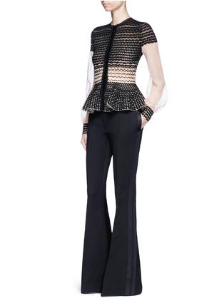 Figure View - Click To Enlarge - Alexander McQueen - Satin stripe wool-silk flared pants