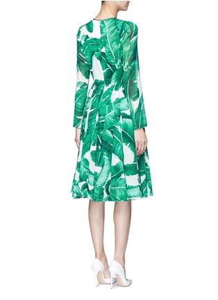 Back View - Click To Enlarge - Dolce & Gabbana - Banana leaf print silk blend chiffon dress