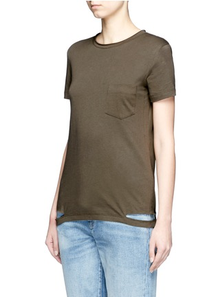 Front View - Click To Enlarge - Helmut Lang - Cutoff hem pocket jersey T-shirt