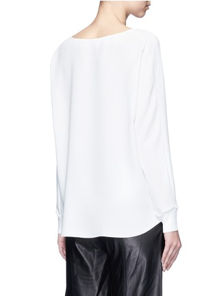 Back View - Click To Enlarge - Vince - Rib cuff lasercut crepe blouse