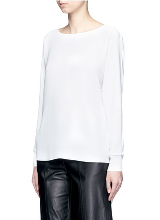 Front View - Click To Enlarge - Vince - Rib cuff lasercut crepe blouse