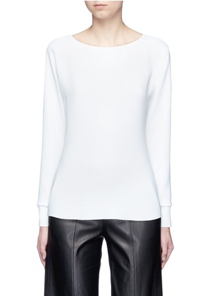 Main View - Click To Enlarge - Vince - Rib cuff lasercut crepe blouse