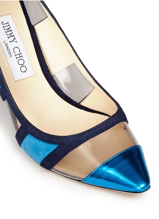 Detail View - Click To Enlarge - Jimmy Choo - 'Romy' mirror leather suede panel pumps
