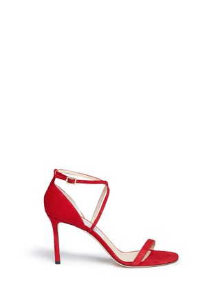 Main View - Click To Enlarge - Jimmy Choo - 'Hesper 85' crisscross strap suede sandals