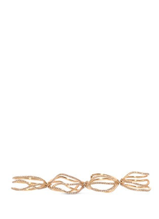Main View - Click To Enlarge - REPOSSI - 'White Noise' diamond 18k rose gold four finger ring