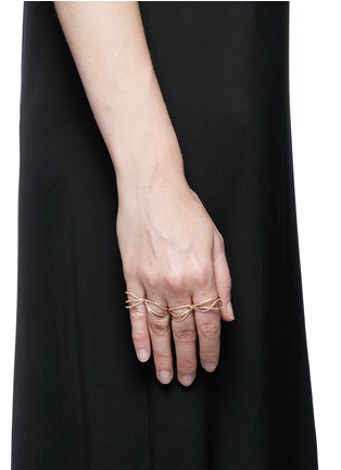 Figure View - Click To Enlarge - REPOSSI - 'White Noise' diamond 18k rose gold four finger ring