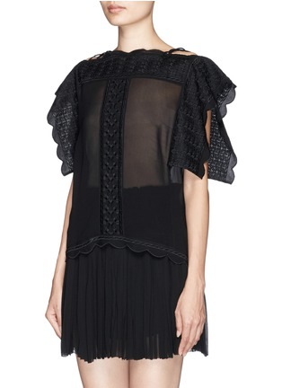 Front View - Click To Enlarge - Isabel Marant Étoile - 'Audrina' scalloped leaf embroidery crepe top