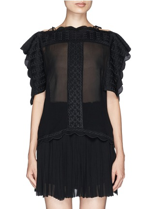 Main View - Click To Enlarge - Isabel Marant Étoile - 'Audrina' scalloped leaf embroidery crepe top