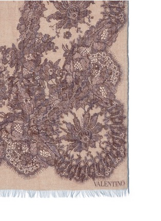 Detail View - Click To Enlarge - Valentino - Floral lace print cashmere-silk scarf