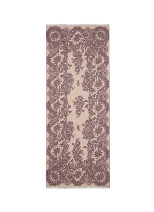 Main View - Click To Enlarge - Valentino - Floral lace print cashmere-silk scarf