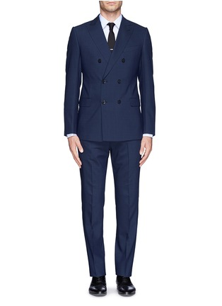 Main View - Click To Enlarge - Armani Collezioni - Virgin wool double breasted suit