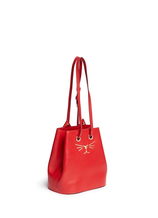 Front View - Click To Enlarge - Charlotte Olympia - 'Feline' catface calfskin leather bucket bag