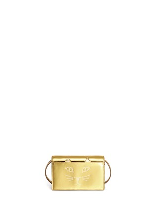 Main View - Click To Enlarge - Charlotte Olympia - 'Feline' metallic leather crossbody bag