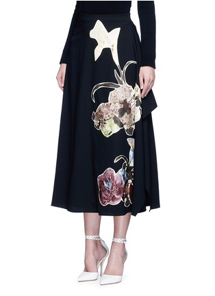 Front View - Click To Enlarge - Valentino - Floral patch print draped wool skirt