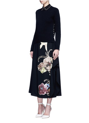Figure View - Click To Enlarge - Valentino - Floral patch print draped wool skirt