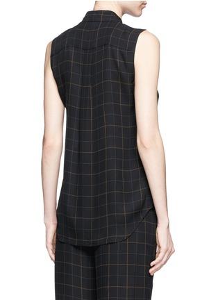 Back View - Click To Enlarge - Theory - 'Yarine' tile print silk sleeveless shirt
