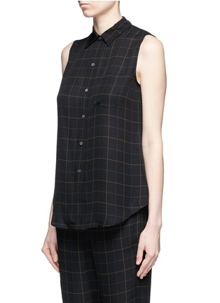 Front View - Click To Enlarge - Theory - 'Yarine' tile print silk sleeveless shirt