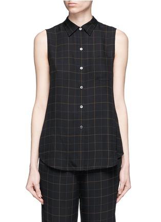 Main View - Click To Enlarge - Theory - 'Yarine' tile print silk sleeveless shirt