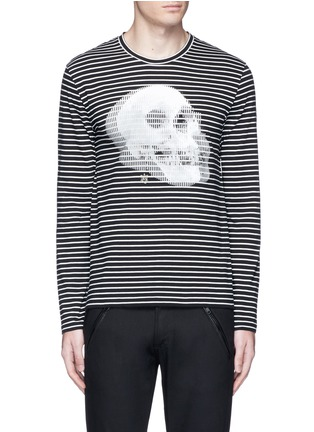 Main View - Click To Enlarge - ALEXANDER MCQUEEN - Optic skull print stripe jersey T-shirt