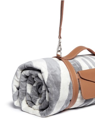 Detail View - Click To Enlarge - Maslin & Co - Zebra stripe jacquard beach towel and leather carrier set