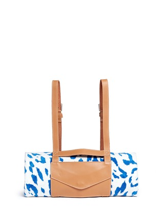 Main View - Click To Enlarge - Maslin & Co - Jaguar jacquard beach towel and leather backpack carrier set
