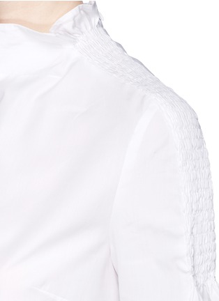 Detail View - Click To Enlarge - KENZO - Shirred shoulder cotton poplin cropped top