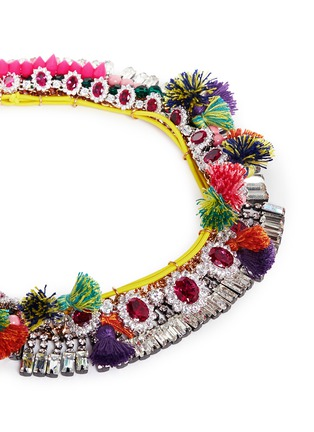Detail View - Click To Enlarge - VENNA - Diana jewel pompom chain collar necklace