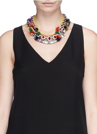 Figure View - Click To Enlarge - VENNA - Diana jewel pompom chain collar necklace