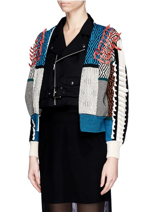 Front View - Click To Enlarge - TOGA ARCHIVES - Faux leather ribbon jacquard cardigan combo biker jacket