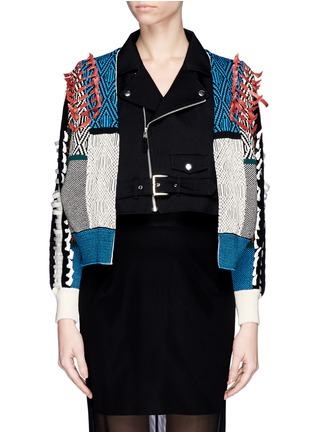 Main View - Click To Enlarge - TOGA ARCHIVES - Faux leather ribbon jacquard cardigan combo biker jacket