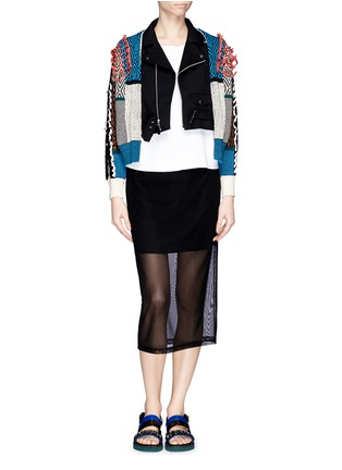Figure View - Click To Enlarge - TOGA ARCHIVES - Faux leather ribbon jacquard cardigan combo biker jacket
