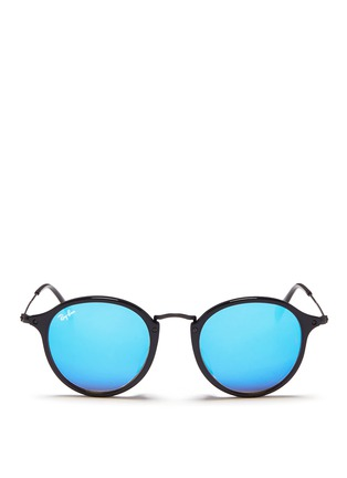Main View - Click To Enlarge - RAY-BAN - 'Round Fleck Flash' acetate mirror sunglasses