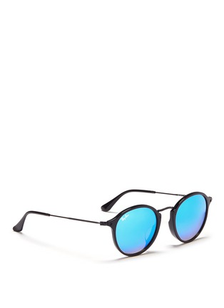 Figure View - Click To Enlarge - RAY-BAN - 'Round Fleck Flash' acetate mirror sunglasses