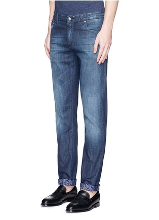Front View - Click To Enlarge - ISAIA - Contrast paisley print cuff jeans