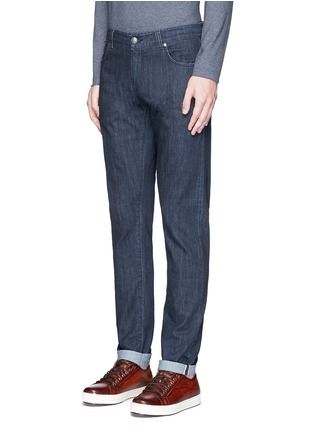 Front View - Click To Enlarge - ISAIA - Logo charm stretch selvedge jeans