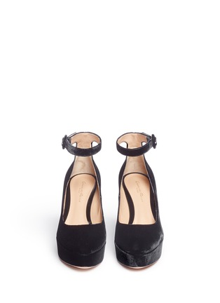 Front View - Click To Enlarge - Gianvito Rossi - 'Sherry' velvet platform pumps