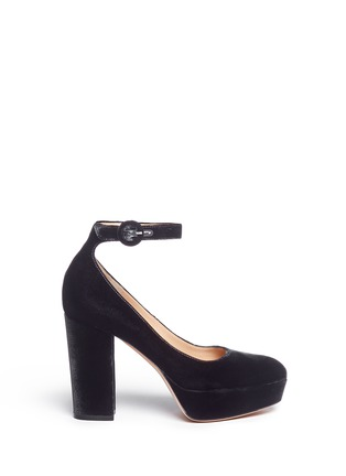 Main View - Click To Enlarge - Gianvito Rossi - 'Sherry' velvet platform pumps