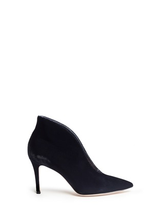 Main View - Click To Enlarge - GIANVITO ROSSI - V-throat velvet booties