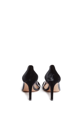 Back View - Click To Enlarge - Gianvito Rossi - 'Plexi' clear PVC velvet pumps