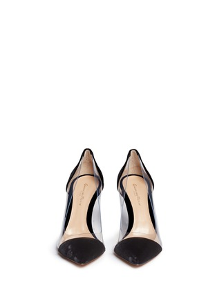 Front View - Click To Enlarge - Gianvito Rossi - 'Plexi' clear PVC velvet pumps