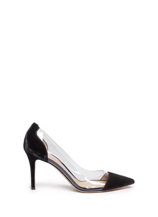 Main View - Click To Enlarge - Gianvito Rossi - 'Plexi' clear PVC velvet pumps